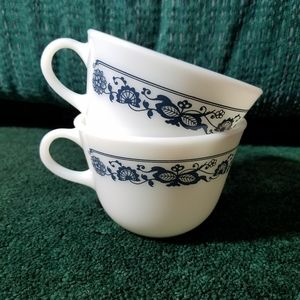 Vintage Pyrex Cups Old Town Blue | Set of 2